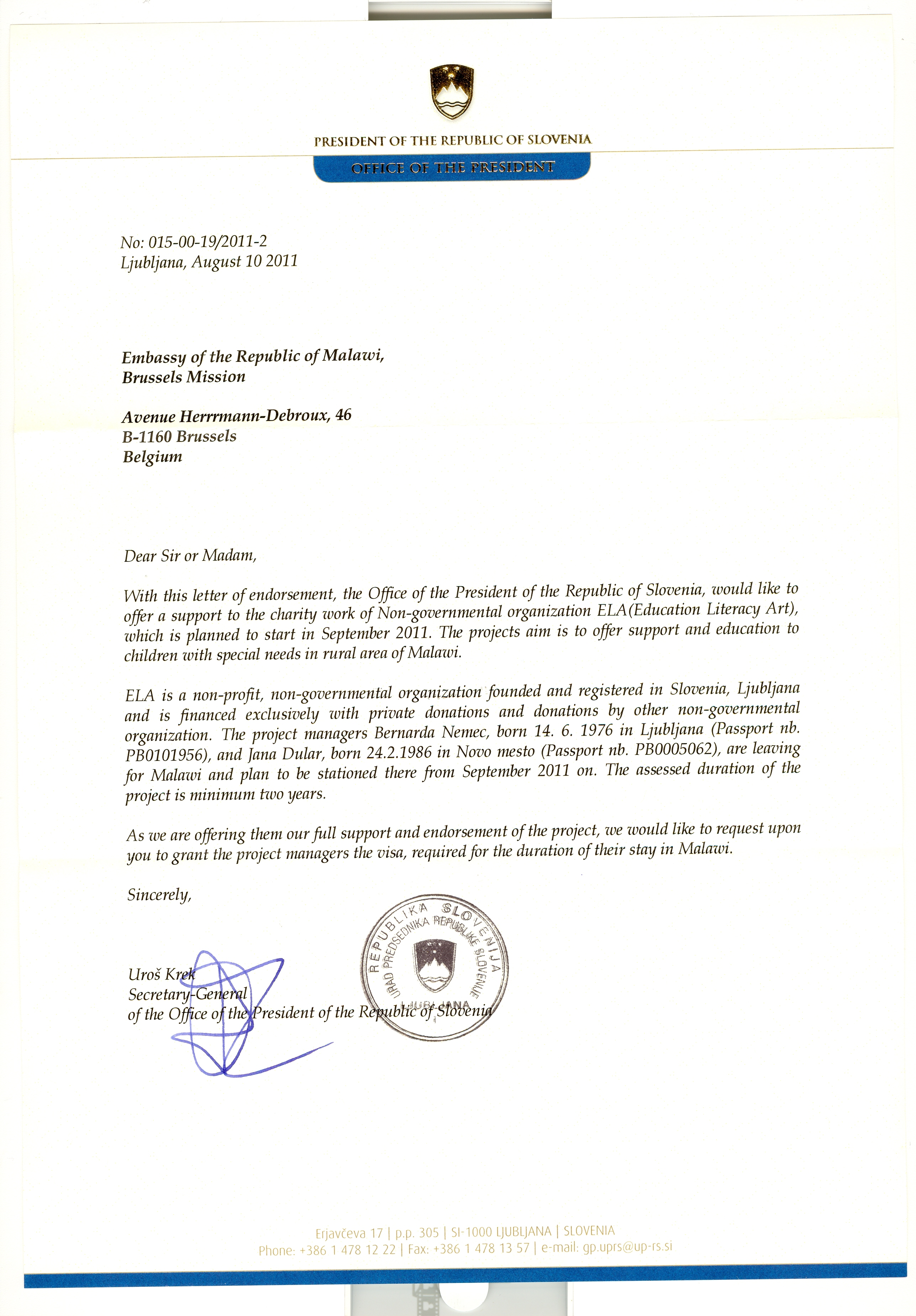 zahvala predsedniku republike slovenije