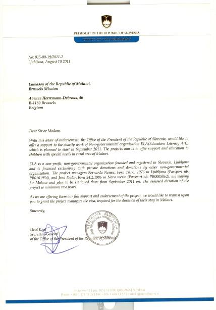 Priporočilno pismo urada predsednika Republike Slovenije